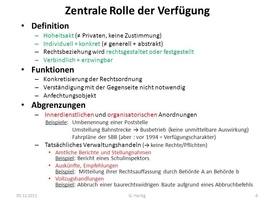 Zentrale Rolle der Verfügung Definition – Hoheitsakt ( Privaten, keine Zustimmung) – Individuell + konkret ( generell + abstrakt) – Rechtsbeziehung wi