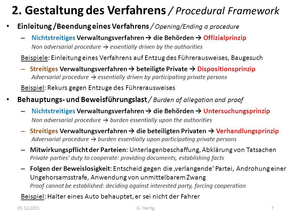 2. Gestaltung des Verfahrens / Procedural Framework Einleitung /Beendung eines Verfahrens / Opening/Ending a procedure – Nichtstreitiges Verwaltungsve