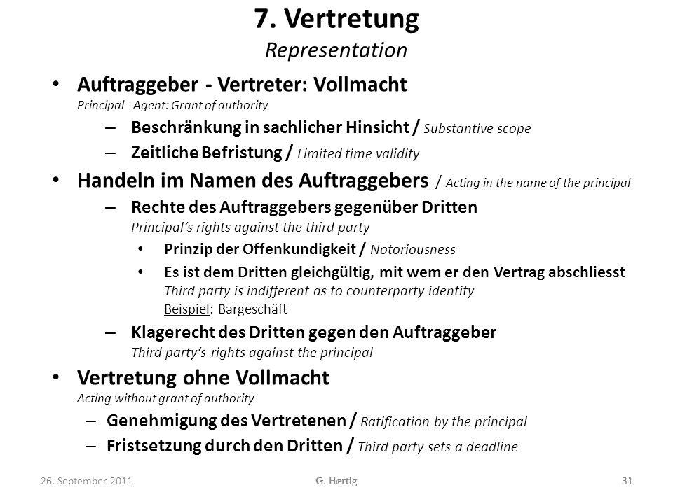 7.Vertretung Representation 31G. Hertig 26.