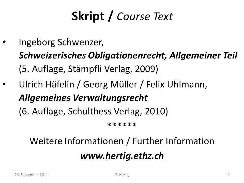 Skript / Course Text Ingeborg Schwenzer, Schweizerisches Obligationenrecht, Allgemeiner Teil (5.