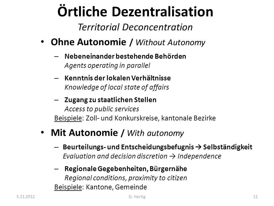 5.11.2012G. Hertig11 Örtliche Dezentralisation Territorial Deconcentration Ohne Autonomie / Without Autonomy – Nebeneinander bestehende Behörden Agent