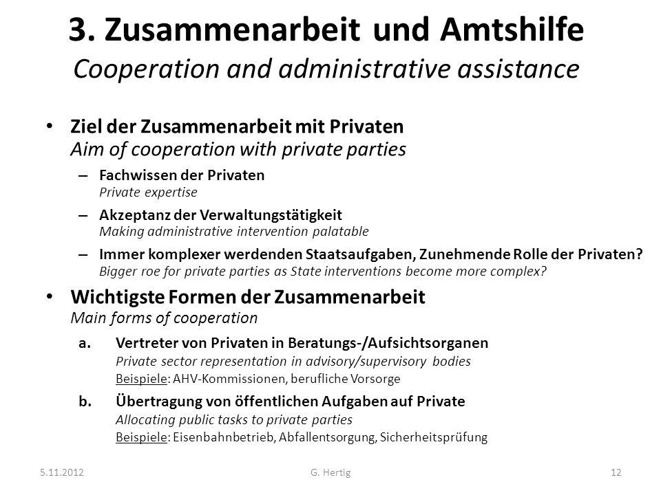 5.11.2012G. Hertig12 3. Zusammenarbeit und Amtshilfe Cooperation and administrative assistance Ziel der Zusammenarbeit mit Privaten Aim of cooperation