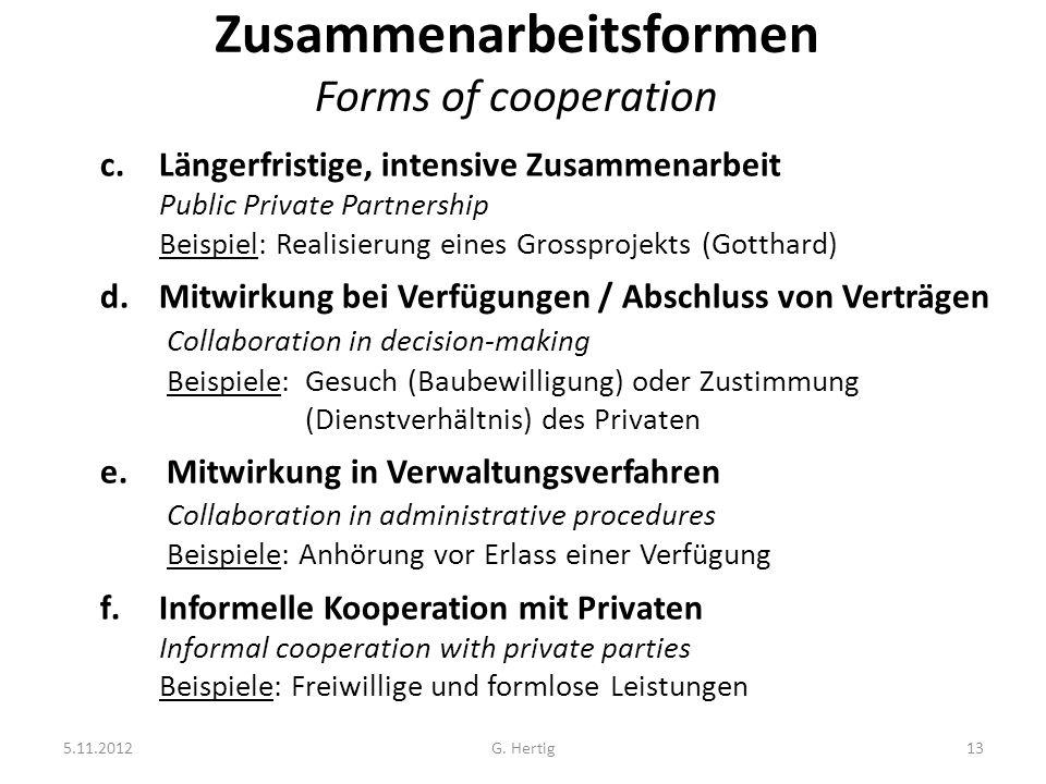 5.11.2012G. Hertig13 Zusammenarbeitsformen Forms of cooperation c.Längerfristige, intensive Zusammenarbeit Public Private Partnership Beispiel: Realis