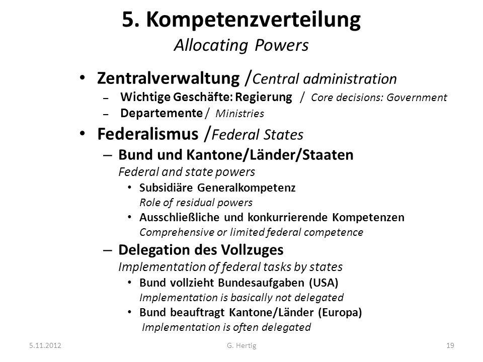 5.11.2012G. Hertig19 5. Kompetenzverteilung Allocating Powers Zentralverwaltung / Central administration – Wichtige Geschäfte: Regierung / Core decisi
