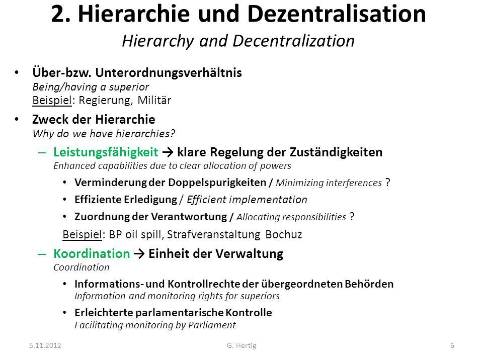 5.11.2012G. Hertig6 2. Hierarchie und Dezentralisation Hierarchy and Decentralization Über-bzw. Unterordnungsverhältnis Being/having a superior Beispi