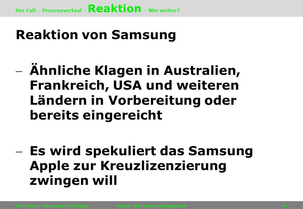 Reaktion von Samsung Ähnliche Klagen in Australien, Frankreich, USA und weiteren Ländern in Vorbereitung oder bereits eingereicht Es wird spekuliert d