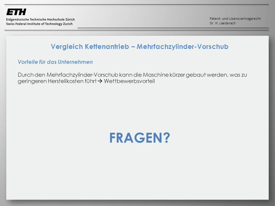 Patent- und Lizenzvertragsrecht Dr. H. Laederach Vergleich Kettenantrieb – Mehrfachzylinder-Vorschub Vorteile für das Unternehmen Durch den Mehrfachzy