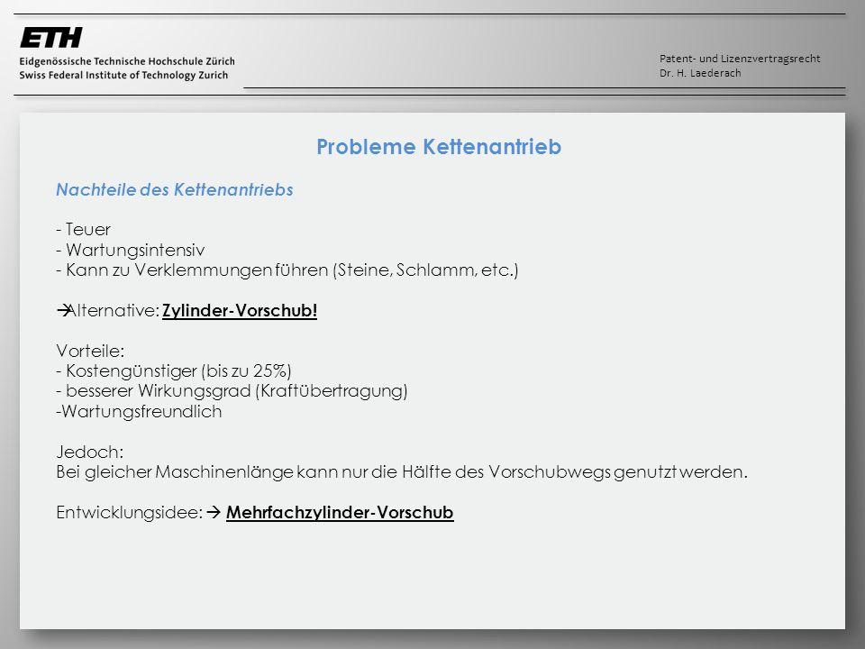 Patent- und Lizenzvertragsrecht Dr. H. Laederach Probleme Kettenantrieb Nachteile des Kettenantriebs - Teuer - Wartungsintensiv - Kann zu Verklemmunge