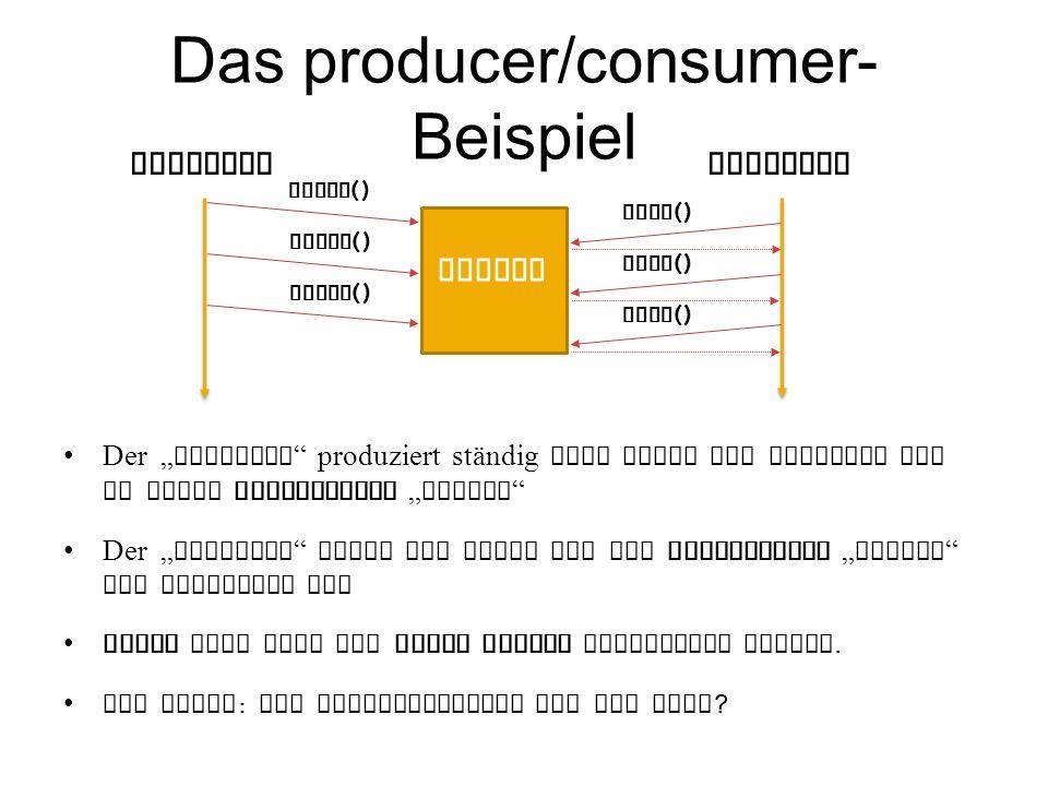 Das producer/consumer- Beispiel Der producer produziert ständig neue Werte und schreibt sie in einen gemeinsamen buffer Der consumer liest die Werte aus dem gemeinsamen buffer und verwendet sie Jeder Wert darf nur genau einmal konsumiert werden.