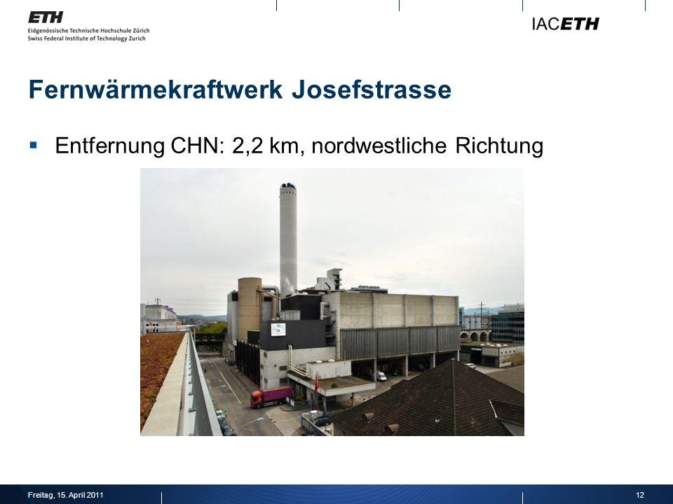 Fernwärmekraftwerk Josefstrasse Entfernung CHN: 2,2 km, nordwestliche Richtung 12Freitag, 15.