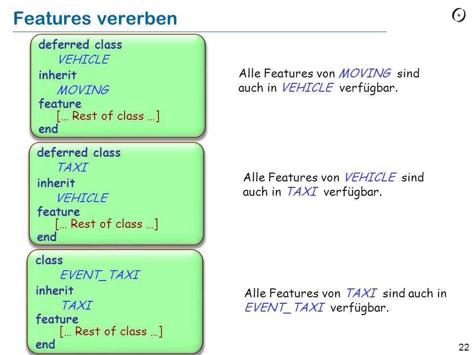 21 Features im Beispiel Feature take (from_location, to_location : COORDINATE) -- Bringe Passagiere -- von from_location -- nach to_location.