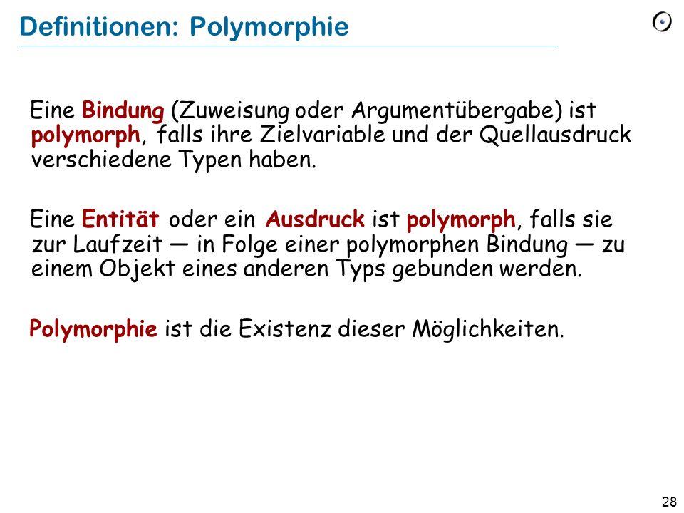 27 Polymorphie gilt auch für Argumente reise_anmelden (v : VEHICLE ) do … end Der Typ des eigentlichen Arguments ist ein echter Nachkomme des Typs des formalen Argumentes Ein spezifischer Aufruf: register_trip ( cab )