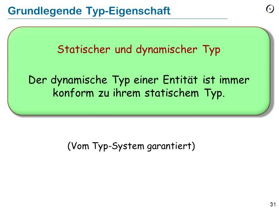 30 Statischer und dynamischer Typ v : VEHICLE cab : EVENT_TAXI (VEHICLE) (EVENT_TAXI) v cab v := cab Statischer Typ von v : VEHICLE Dynamischer Typ nach dieser Zuweisung: EVENT_TAXI