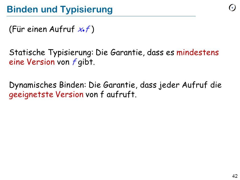 41 Definition: Dynamisches Binden (Dynamic binding) Dynamisches Binden (eine semantische Regel): Jede Ausführung eines Featureaufrufs ruft das am besten zum Typ des Zielobjekts adaptierte Feature auf.