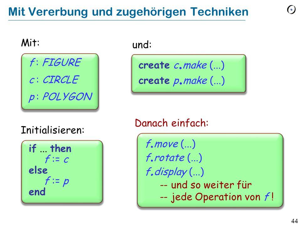 43 Ohne dynamisches Binden. display (f : FIGURE ) do if f ist ein CIRCLE then...