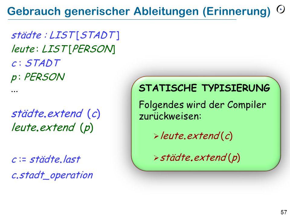 56 Eine generische Klasse (Erinnerung) class LIST [ G ] feature extend (x : G )...