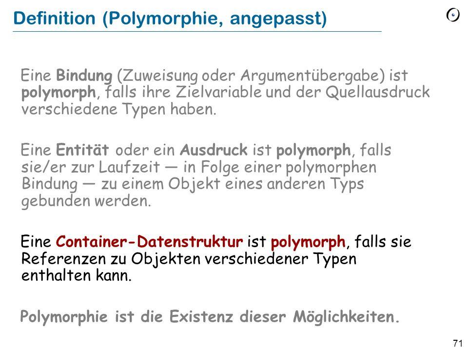 70 Mit polymorphen Datenstrukturen arbeiten bilder: LIST [FIGURE] … from bilder start until bilder after loop bilder item display bilder forth end Dynamische Binden (POLYGON) (CIRCLE) (POLYGON) (CIRCLE) (ELLIPSE)