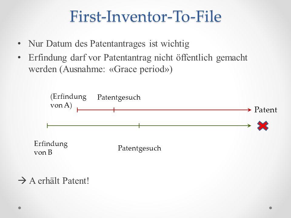 First-Inventor-To-File Nur Datum des Patentantrages ist wichtig Erfindung darf vor Patentantrag nicht öffentlich gemacht werden (Ausnahme: «Grace period») A erhält Patent.
