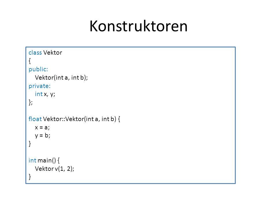 Konstruktoren class Vektor { public: Vektor(int a, int b); private: int x, y; }; float Vektor::Vektor(int a, int b) { x = a; y = b; } int main() { Vek