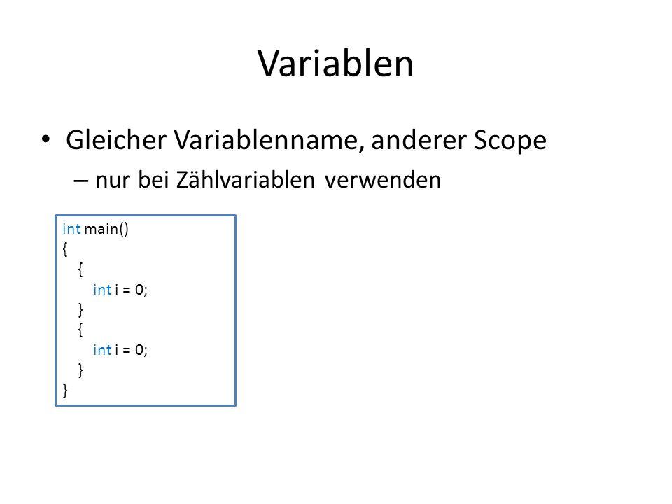 Überladen von Funktionen float summe(float a, float b) { return a + b; } // Version 1 int summe(int a, int b) { return a + b; } // Version 2 int main() { cout << summe(1, 2); // Version 2 aufgerufen cout << summe(1.0f, 2.0f); // Version 1 aufgerufen }