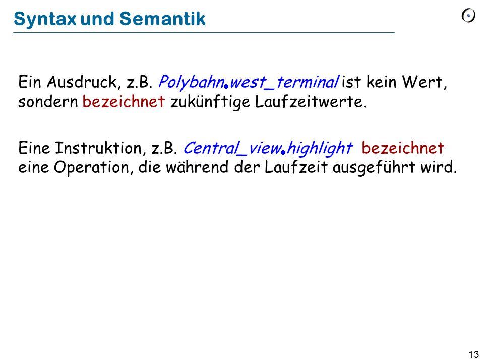 13 Syntax und Semantik Ein Ausdruck, z.B. Polybahn west_terminal ist kein Wert, sondern bezeichnet zukünftige Laufzeitwerte. Eine Instruktion, z.B. Ce