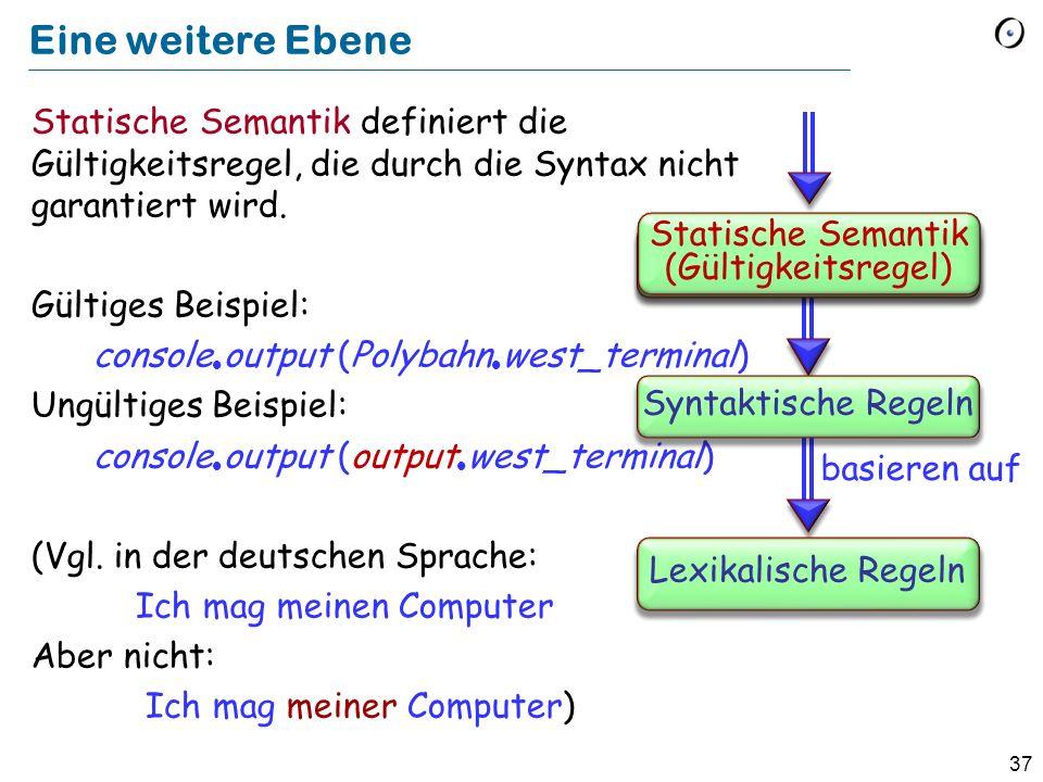 37 Eine weitere Ebene Statische Semantik definiert die Gültigkeitsregel, die durch die Syntax nicht garantiert wird. Gültiges Beispiel: console output