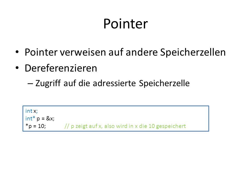 Pointer Pointer verweisen auf andere Speicherzellen Dereferenzieren – Zugriff auf die adressierte Speicherzelle int x; int* p = &x; *p = 10; // p zeigt auf x, also wird in x die 10 gespeichert