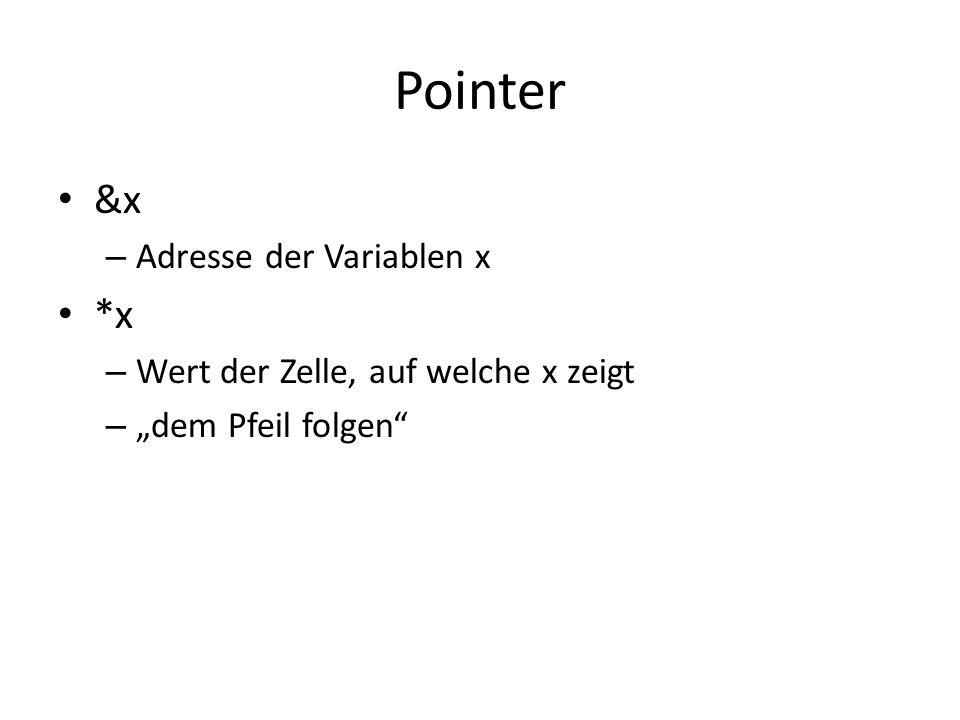 Pointer &x – Adresse der Variablen x *x – Wert der Zelle, auf welche x zeigt – dem Pfeil folgen