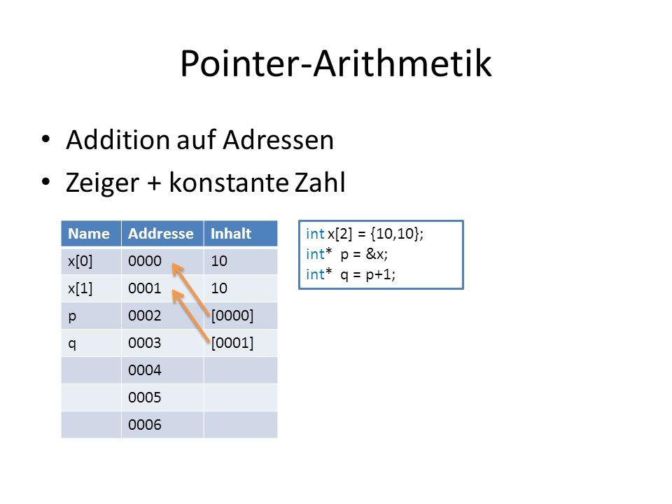 Pointer-Arithmetik Addition auf Adressen Zeiger + konstante Zahl NameAddresseInhalt x[0]000010 x[1]000110 p0002[0000] q0003[0001] 0004 0005 0006 int x[2] = {10,10}; int* p = &x; int* q = p+1;