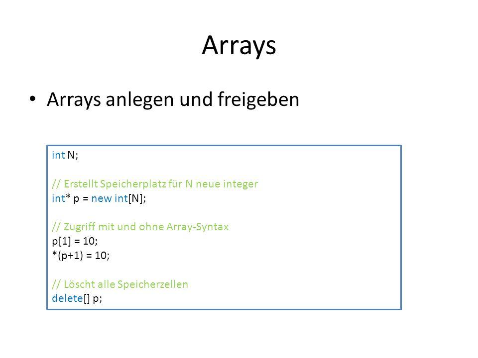 Arrays Arrays anlegen und freigeben int N; // Erstellt Speicherplatz für N neue integer int* p = new int[N]; // Zugriff mit und ohne Array-Syntax p[1] = 10; *(p+1) = 10; // Löscht alle Speicherzellen delete[] p;