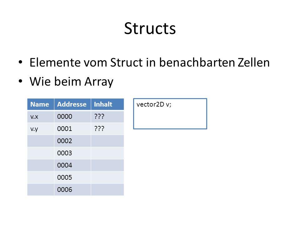 Structs Elemente vom Struct in benachbarten Zellen Wie beim Array NameAddresseInhalt v.x0000??.