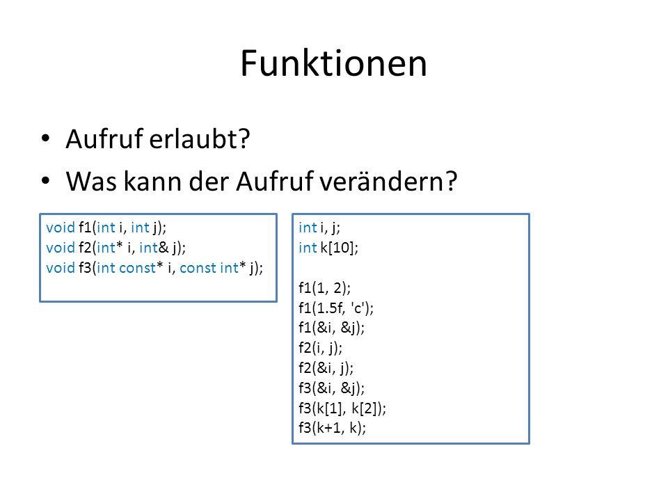 Funktionen Aufruf erlaubt? Was kann der Aufruf verändern? void f1(int i, int j); void f2(int* i, int& j); void f3(int const* i, const int* j); int i,