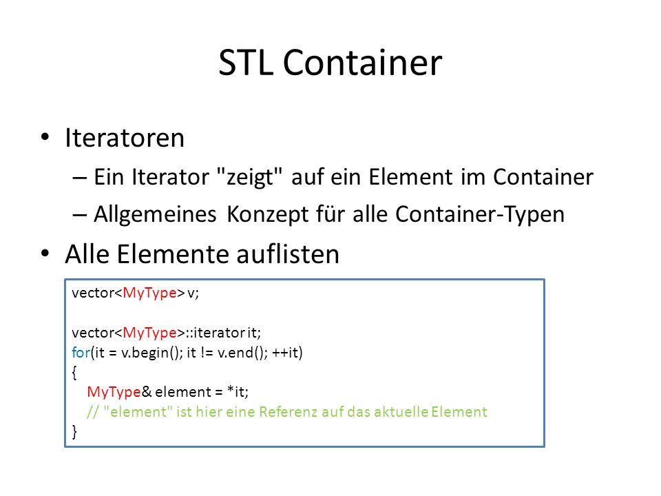 STL Container Iteratoren – Ein Iterator