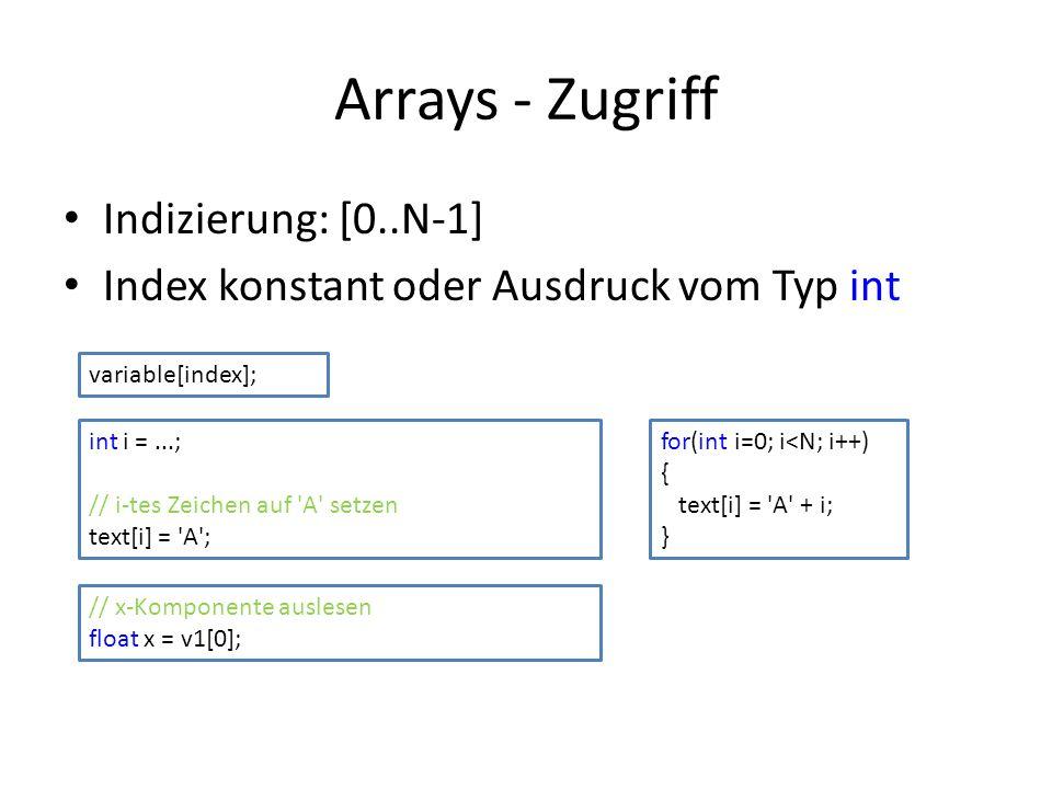 Arrays - Zugriff Indizierung: [0..N-1] Index konstant oder Ausdruck vom Typ int variable[index]; int i =...; // i-tes Zeichen auf 'A' setzen text[i] =