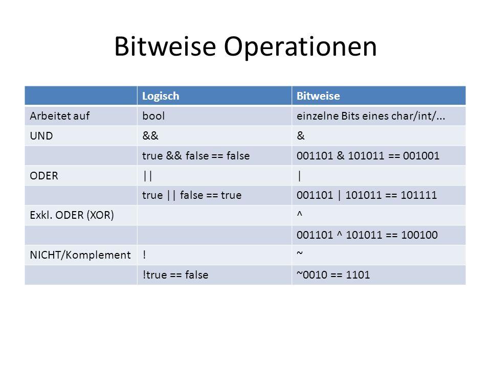 Bitweise Operationen LogischBitweise Arbeitet aufbooleinzelne Bits eines char/int/... UND&&& true && false == false001101 & 101011 == 001001 ODER||| t