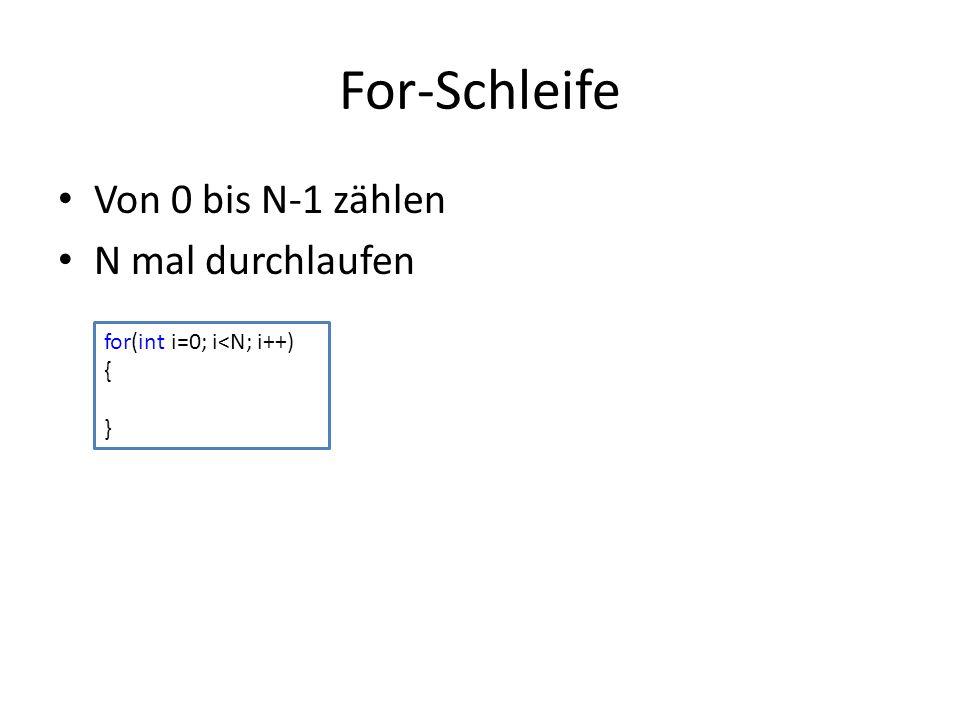 For-Schleife Von 0 bis N-1 zählen N mal durchlaufen for(int i=0; i<N; i++) { }