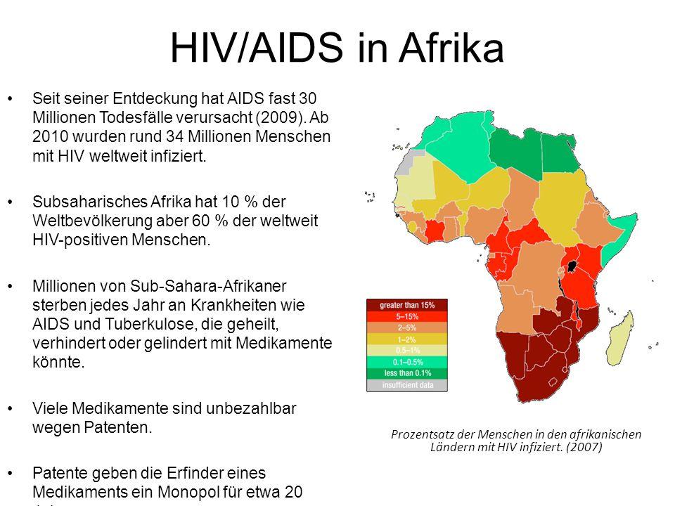 HIV/AIDS in Afrika Seit seiner Entdeckung hat AIDS fast 30 Millionen Todesfälle verursacht (2009). Ab 2010 wurden rund 34 Millionen Menschen mit HIV w