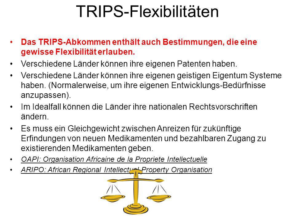 TRIPS-Flexibilitäten Das TRIPS-Abkommen enthält auch Bestimmungen, die eine gewisse Flexibilität erlauben. Verschiedene Länder können ihre eigenen Pat