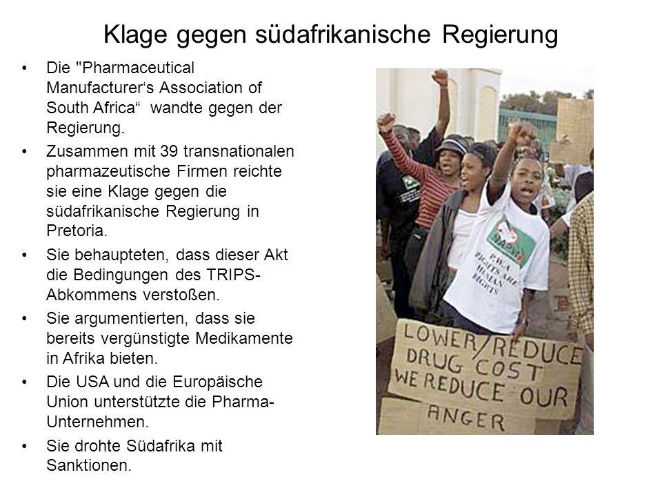 Klage gegen südafrikanische Regierung Die