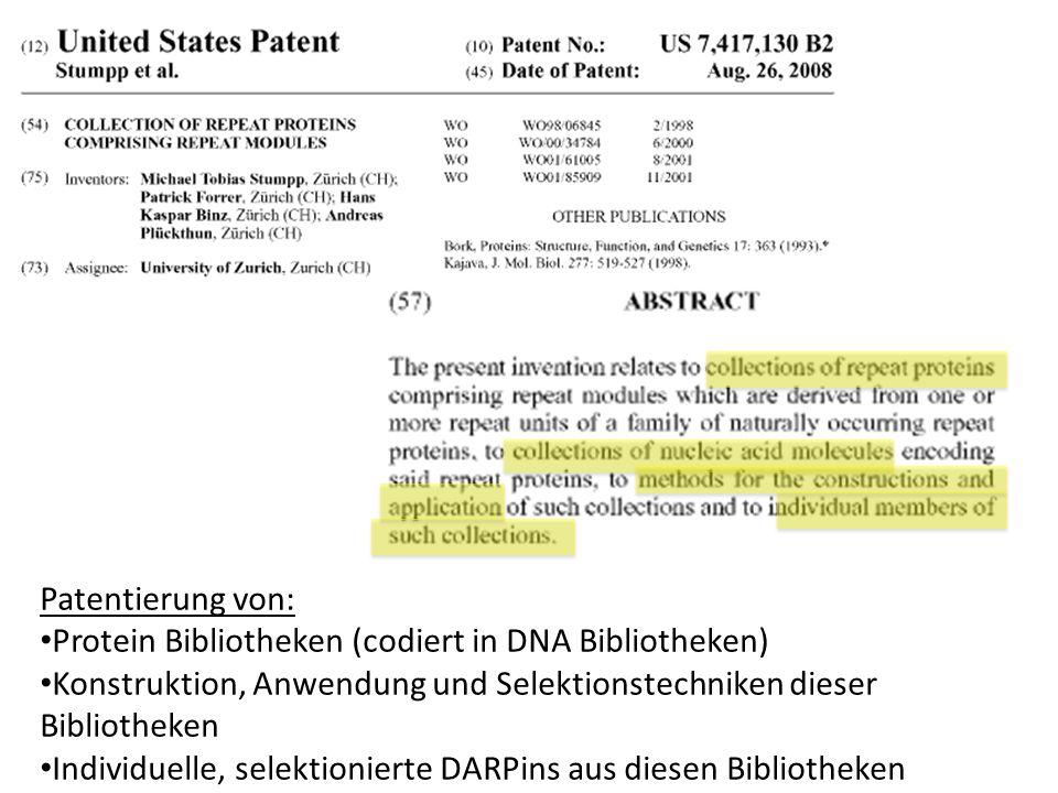 Patentierung von: Protein Bibliotheken (codiert in DNA Bibliotheken) Konstruktion, Anwendung und Selektionstechniken dieser Bibliotheken Individuelle,