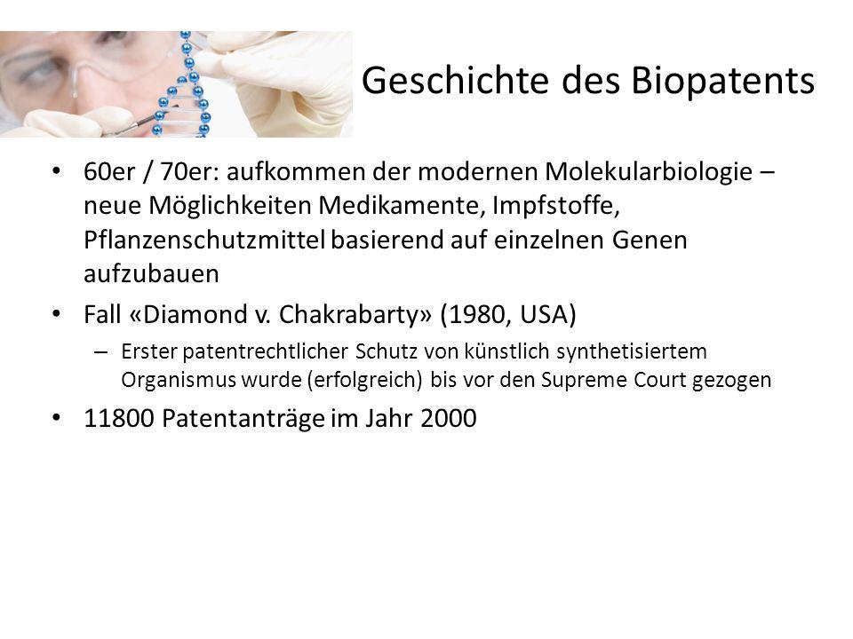 Biopatente in der EU + CH Das Europäische Patentamt (EPA) vergibt seit 1989 Biopatente.