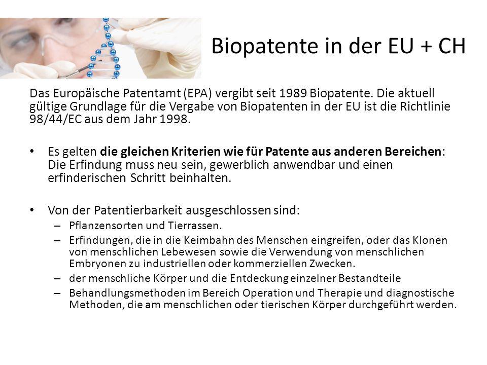 Biopatente in der EU + CH Das Europäische Patentamt (EPA) vergibt seit 1989 Biopatente. Die aktuell gültige Grundlage für die Vergabe von Biopatenten