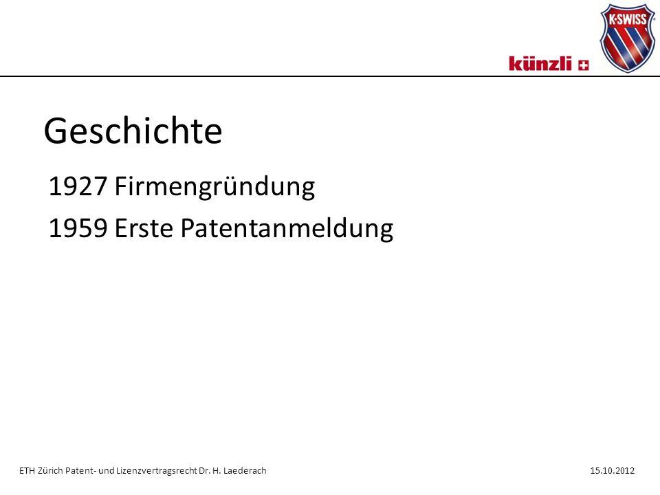 Geschichte 1927 Firmengründung 1959 Erste Patentanmeldung ETH Zürich Patent- und Lizenzvertragsrecht Dr.