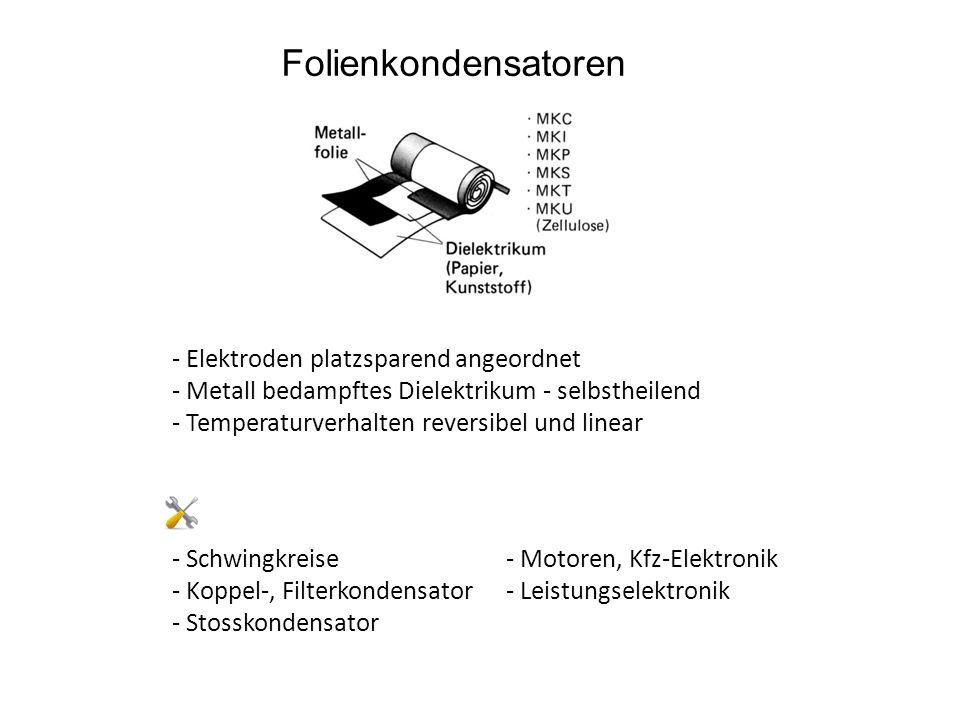 Folienkondensatoren - Elektroden platzsparend angeordnet - Metall bedampftes Dielektrikum - selbstheilend - Temperaturverhalten reversibel und linear - Schwingkreise - Koppel-, Filterkondensator - Stosskondensator - Motoren, Kfz-Elektronik - Leistungselektronik