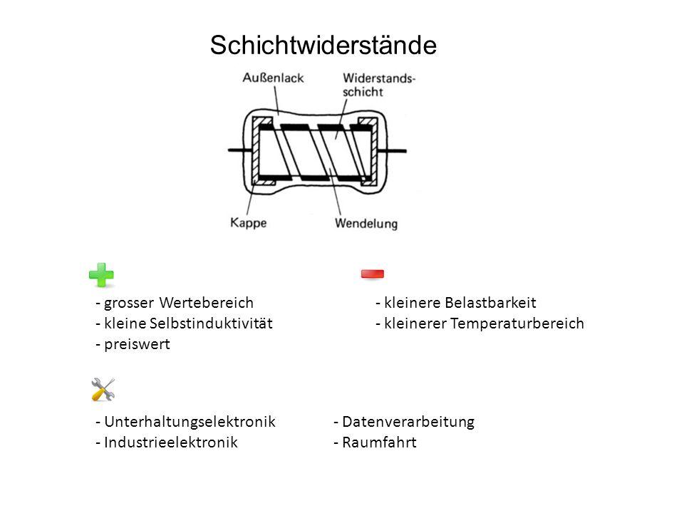 Schichtwiderstände - grosser Wertebereich - kleine Selbstinduktivität - preiswert - kleinere Belastbarkeit - kleinerer Temperaturbereich - Unterhaltungselektronik - Industrieelektronik - Datenverarbeitung - Raumfahrt