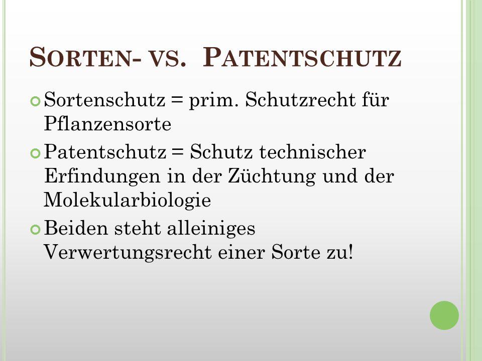 S ORTEN - VS. P ATENTSCHUTZ Sortenschutz = prim. Schutzrecht für Pflanzensorte Patentschutz = Schutz technischer Erfindungen in der Züchtung und der M