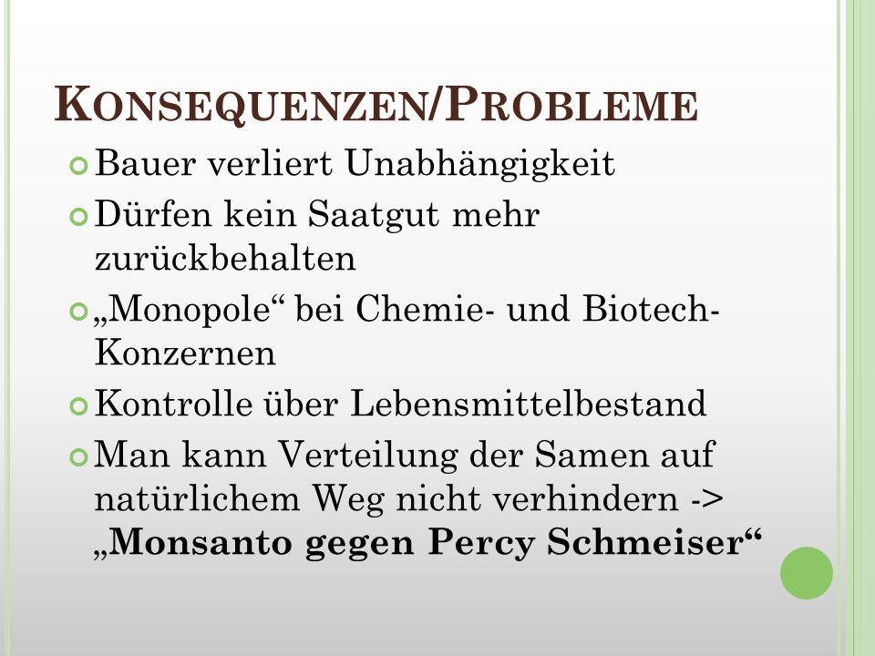 K ONSEQUENZEN /P ROBLEME Bauer verliert Unabhängigkeit Dürfen kein Saatgut mehr zurückbehalten Monopole bei Chemie- und Biotech- Konzernen Kontrolle ü
