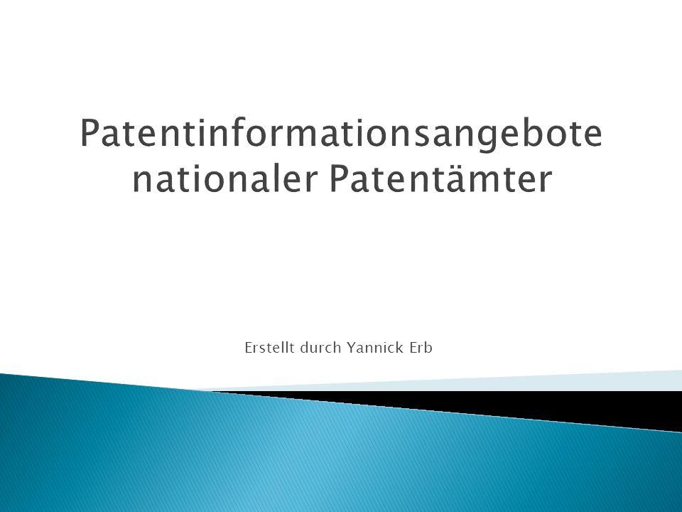 www.epo.org www.ige.ch www.dpma.de http://ep.espacenet.com/?locale=de_EP http://www.laederach.ethz.ch/ http://www.patentinformation.de Patentinformationen nationaler Patentämter12