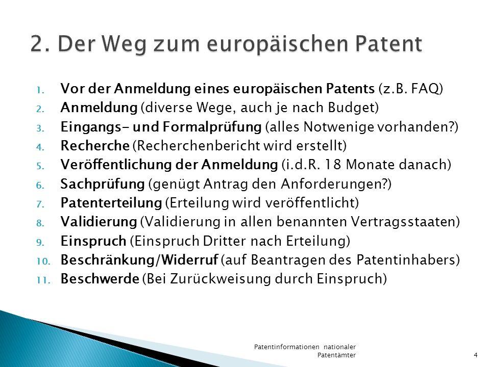 1. Vor der Anmeldung eines europäischen Patents (z.B. FAQ) 2. Anmeldung (diverse Wege, auch je nach Budget) 3. Eingangs- und Formalprüfung (alles Notw