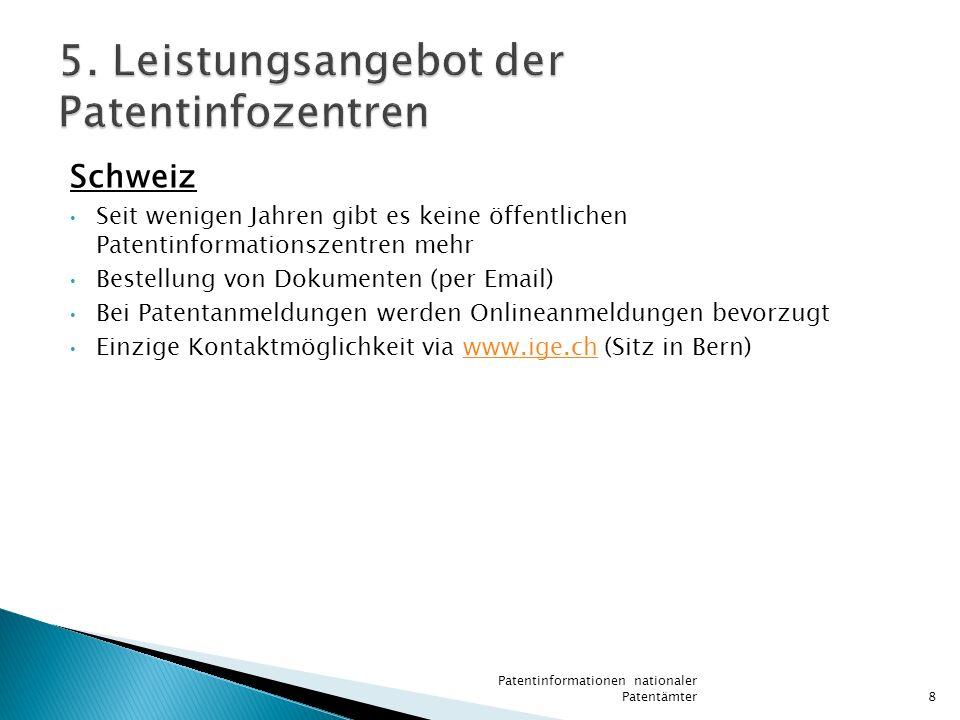 Deutschland (Hamburg) Lesesaalbetrieb mit Unterstützung bei der Eigenrecherche Lieferungen von Kopien von Dokumenten (per Post, Fax oder Email) Recherchen zum Stand der Technik (Originaldokumente, CD-ROM, Online) Beratung zur Recherchearbeit (Planung, Strategie) Recherchen zu Patentfamilien kostenlose Erfinderberatung in Zusammenarbeit mit der örtlichen Anwaltschaft Annahmestelle des DPMA (Deutsches Patent- und Markenamt) Patentinformationen nationaler Patentämter9